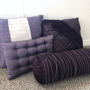 Other - Set 4 Decorative Purple Accent Pillows